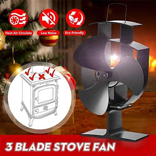 CRZJ Ofenlüfter, 3 Flügel Wärmebetriebener Ofenlüfter für Holz- / Holzbrenner/Kamin, Umwandlung von Wärmeenergie in elektrische Energie zum Antrieb von Lüfterflügeln