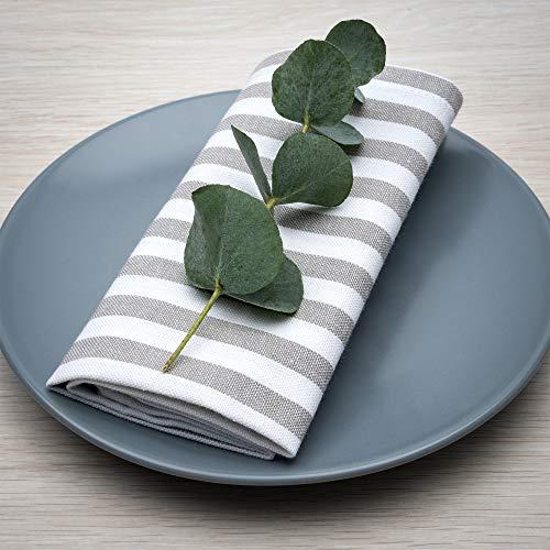 FILU Servietten 4er Pack Grau/Weiß gestreift (Farbe und Design wählbar) 45 x 45 cm - Stoffserviette aus 100% Baumwolle im skandinavischen Landhausstil