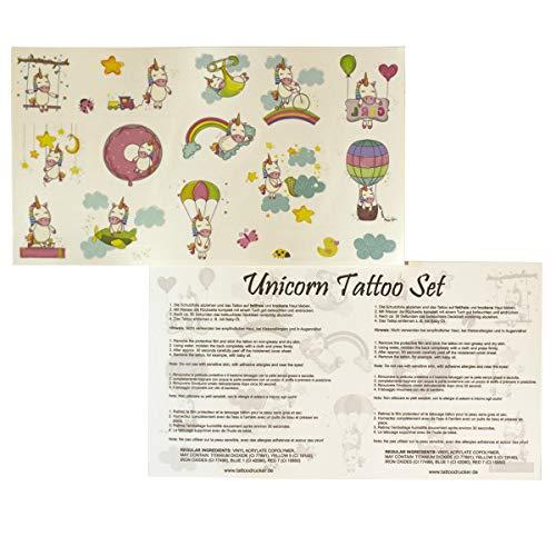 x Licorne Carte - 19 Tatouages Colorés de la Peau des Enfants Licorne - Party Set (5 x Ensemble de Tatouage Licorne)