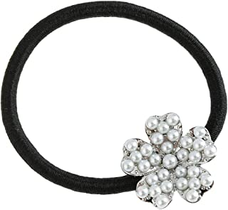 Perfeclan Pearl Flower Party Wedding Elastic Hair Ties Rope Band Prom Ponytail Holder - Silver, 2.3cm