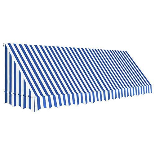 GOTOTOP Auvent de Bistro Porte 400x120 cm Auvent de Porte Protection Solaire Anti-UV et Étanche, Bleu et Blanc