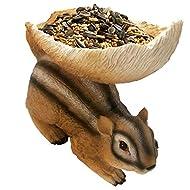 Squirrel Feeder Wild Bird Feeders for Outside Woodland, Outdooor Chipmunk Feeder, Sculpture Birdfeeder for Squirrels and Other Animals, Brown Garden Statues Decor