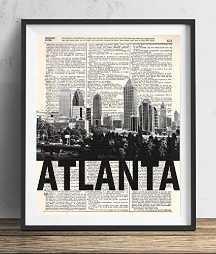Atlanta Skyline With Bold Name Dictionary Art Print 8x10