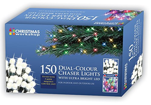 The Christmas Workshop 79360 150 LED Dual Coloured Chaser Christmas Lights | Multi-Coloured & Warm White Colours | Indoor/Outdoor Christmas Lights | Christmas, Weddings & Gardens | 5 Functions | 10.5