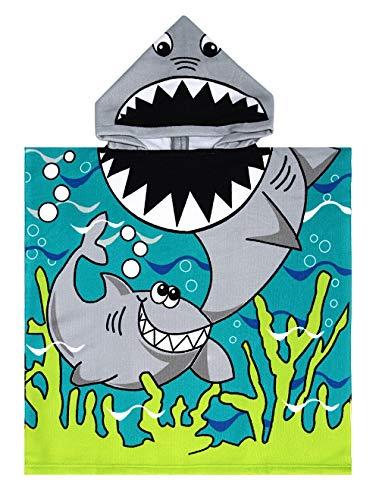 Leezepro Kinder Handtuch Poncho Mädchen Jungen Bademäntel Kapuzenhandtuch für Strand, Schwimmen, Bade (One Size, Shark)