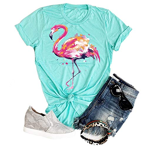 Karuina Women's Short-Sleeved Round Neck Loose Flamingo Print Short-Sleeved T-Shirt Tops (L, Green)