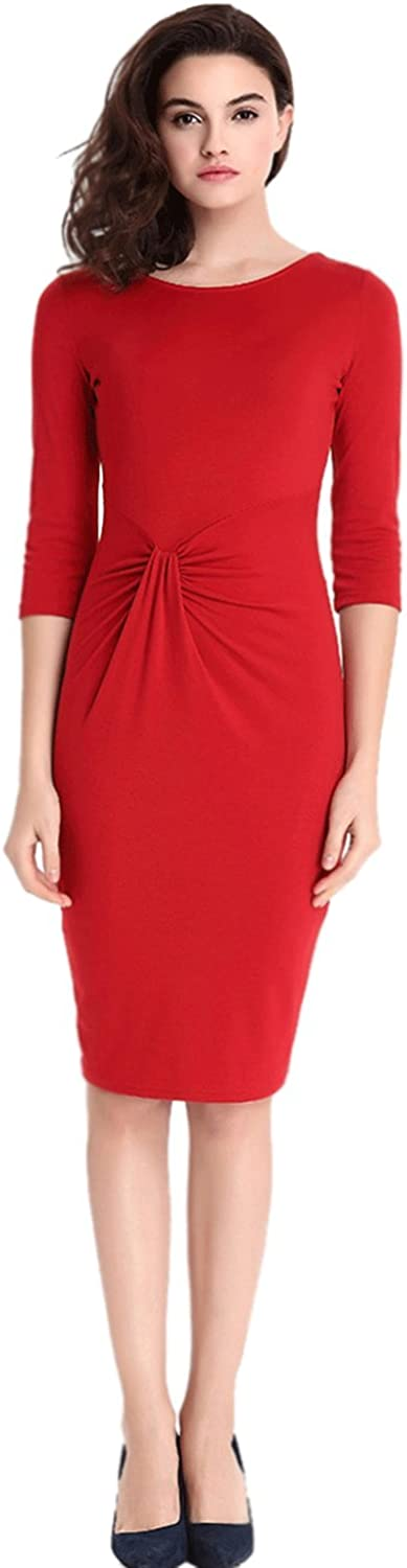 Unomatch Women's Round Neck Casual Knee Length Solid Dress Red