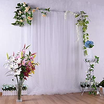 Adeeing White Tulle Backdrop Curtains 5ftx7ft P...
