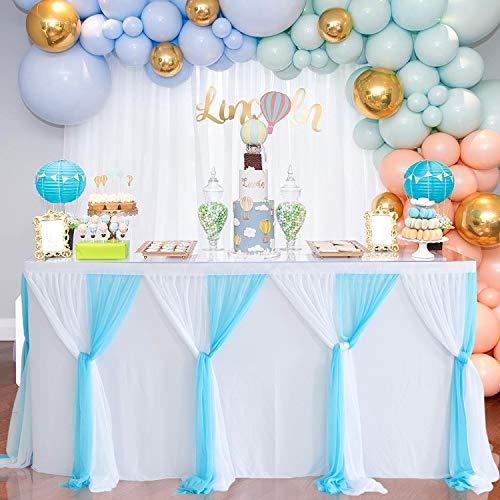 NSSONBEN Tüll Tischrock Blau Weiß Tischröcke Tischdeko für Babyparty, Baby Shower Junge, Hochzeit, Geburtstag, Kindergeburtstag (Weiß Blau, 4.5 Yards)
