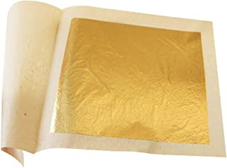 Gold Leaf Sheets Set 100 Sheets Imitation Hold Golden Leafing Sheets Foil Paper for Elevate Cake Decorations,Gilding Make Gold Glitter Dust Flakes Paint 3.5 by 3.5 inches