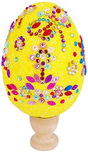 Uova Decorative di Pasqua, Uova di Pasqua Materiali Fatti a Mano per Bambini Giocattoli per Fabbricazione Fai-da-Te Uova Creative dipinte con Fiocchi di Neve e Fango Ideale per attività Manuali-giallo