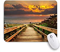 ECOMAOMI 可愛いマウスパッド 日の出のビーチの遊歩道 滑り止めゴムバッキングマウスパッドノートブックコンピュータマウスマット