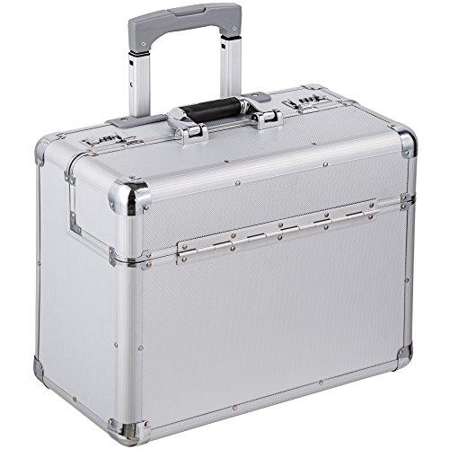 tectake® Pilotenkoffer 47x39x25 cm Handgepäck Businesskoffer Aktenkoffer Koffer Trolley silber mit Rollen