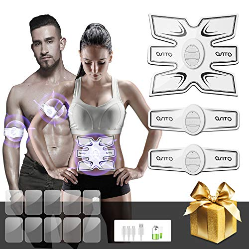 OSITO EMS Rechargeable Muscle Toner and ABS Stimulator with 10 Replacement Gel Pads