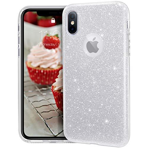 MATEPROX de Funda para iPhone X,Funda para iPhone XS,Glitter Sparkle Brillante Bling Lindo, 3 Capas híbridas, Antideslizante/Protectora para iPhone X/XS-Plata