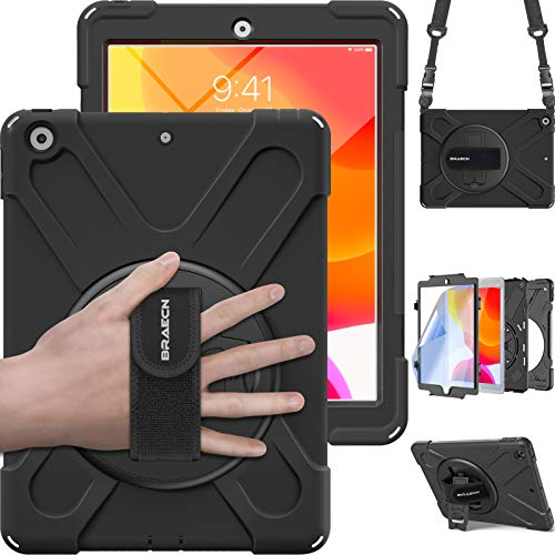 BRAECN iPad 8th/7th Generation Case, iPad 10.2 2020/2019,Heavy Duty Shockproof Rugged Case with Built Screen Protector, Hand Strap, Kickstand, Carrying Shoulder Strap for Ipad 10.2 A2200/A2198-Black