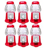 Hammont Mini Gumball Machines - 6 Pack - 5 inch Plastic Bubble Gum or Small Candy Dispensers – Fits .5' Inch Small Gumballs (14mm), for Kids Boys & Girls, Red Novelty Fun Birthday Party Favor Idea