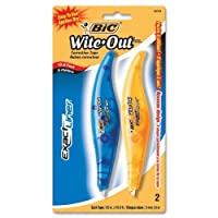 """Wholesale CASE of 25–Bic正確なライナーwite-outブランド補正tape-wite-out補正テープペン、1/ 5"""" x19.8'、2/ PK ,ブルー"""