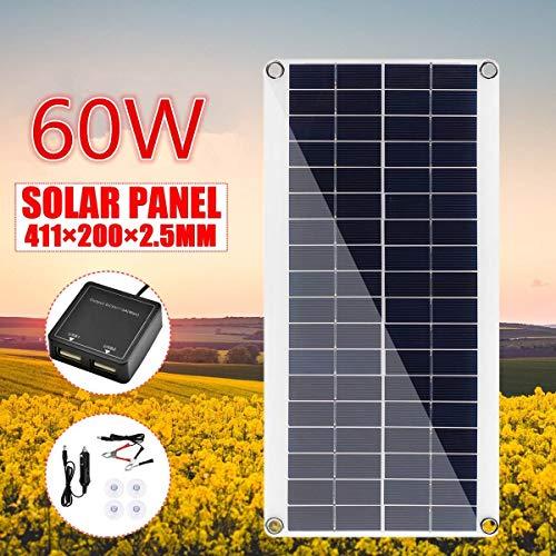 HMLIGHT 60W DC 18V portátil de la célula Solar del Panel de batería Solar del Cargador Junta cocodrilo Cargador de Clips de Coche para el teléfono del Coche de RV