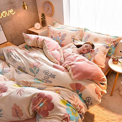 Bedding-LZ bettwäsche Baumwolle 200x200-Kristallteil Samt vierteiliges Set einteiliges Bettlaken Bettbezug Kissenbezug Bettwäsche Geschenk-H_1,8 m Tagesdecke (4 Stück)