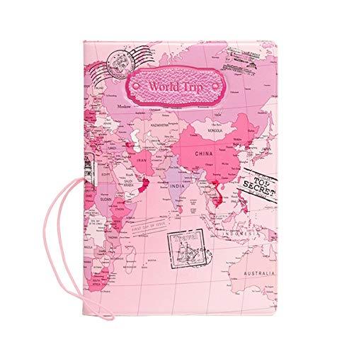 SYMALL Funda de Pasaporte con Estampado Mapa Internacional Encaje Funda Cartera para Pasaporte y Billetes de Avión Sostenedor Cubierta Porta para Pasaporte Protector, Rosa