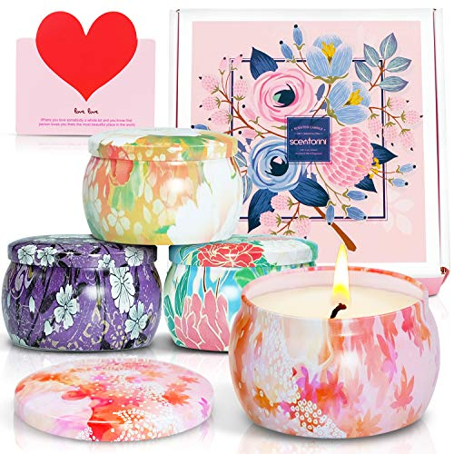 SCENTORINI Scented Candles Gift Set, 4X4.4oz, Blush Peony, Cinnamon Apple, French Lavender and Velvet Rose, Soy Wax Handmade Aromatherapy Candle for Mother's Day