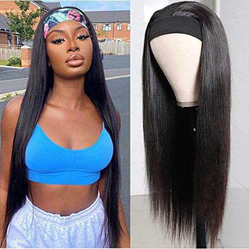 Headband Wig Straight Human Hair Wigs Glueless Scarf None Lace Front Wig Full Machine Made Natural Color Peruvian Straight Hair Wig for Women (12 inch, natural color straight headband wig)