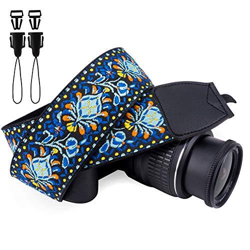 Wolven Vintage Jacquard Weave Camera Neck Shoulder Strap Belt Compatible with All DSLR/SLR/Digital Camera (DC)/Instant Camera/Polaroid etc, Blue Classic Floral