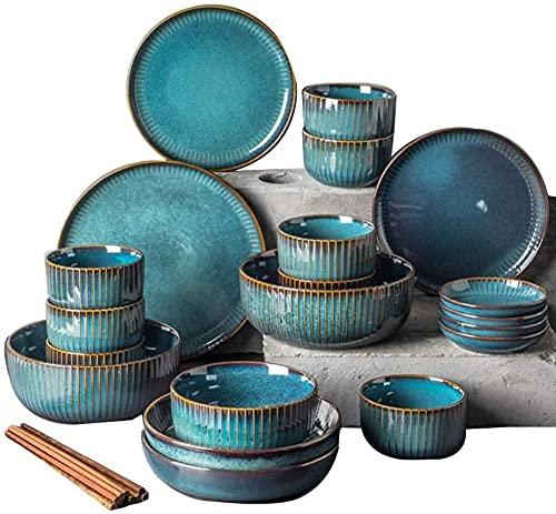 LLDKA Juego de vajillas, Plato de Cena de cerámica de tafel, Platos Vintage, vajilla de Porcelana Fina, Placas de Cena, Placas de Sopa Profundas, Platos de Servicio de 28 Piezas