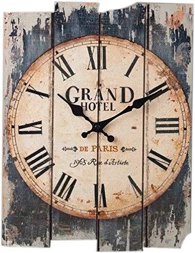 Orologio da Parete in Legno Silenzioso, Teak Peak 12'Vintage Wall Orologio Rettangolare Orologio Rettangolare Batterie Silenziose per La Barra Dell'orologio da Cucina