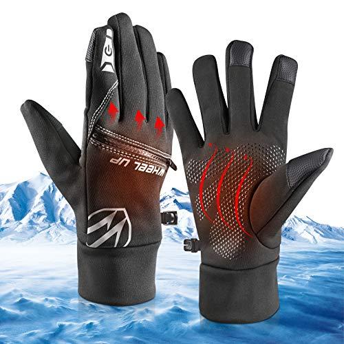 Winter Warme Handschuhe, Touchscreen Winterhandschuhe Fahrradhandschuhe Skihandschuhe Sport Outdoor Winddichte Full Finger Handschuhe für Herren Damen Radfahren Laufen Fahren Joggen Skifahren (M)