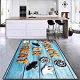 Vintage Halloween, Area Rugs for Bedroom, Trick or Treat Cookie Wooden Table Ghost Bat Web Halloween, for Living Room 6' x 7' Blue Amber Multicolor