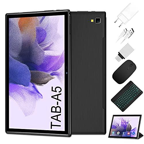 Tablet 5G WiFi de 10 pulgadas 4G LTE Android 10.0 Tablet PC 2 en 1 con teclado 6 GB de RAM + 64 GB de ROM, 8 núcleos, con batería de 6500 mAh, GPS, OTG, tipo C (negro)