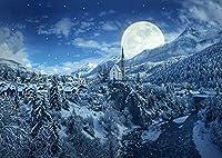 絵画風 壁紙ポスター (はがせるシール式) 銀世界の雪国と幻想的なスーパームーン ホワイトクリスマス アルプス 満月 月 キャラクロ MON-034A1 (A1版 830mm×585mm) 建築用壁紙+耐候性塗料