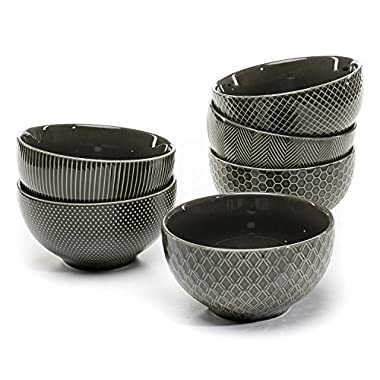 Member's Mark Ceramic Textured Stoneware Bowls, Set of 6 (Gray)