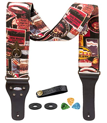 12 Button Picks iDelta Guitar Strap Vintage Woven Style Adjustable Acoustic Electric Guitar Bass Strap with Leather Ends Strap Bundle