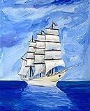 N\A Manualidades para Pintar Pintura Al Óleo Navegación por El Mar Azul DIY Pintura por Numeros Adultos Niños Cuadro Lienzo