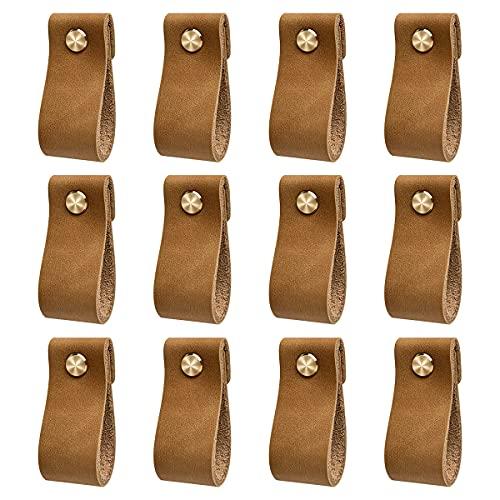 DOXILA - Tiradores de cuero para muebles - 12 piezas - 6*2,5 cm Tirador de cuero vintage hecho a mano para armarios de cocina - Baño - Armarios (marrón)
