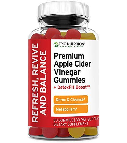 Trio Nutrition Apple Cider Vinegar Gummies - Appetite Suppressant for Weight Loss ACV Gummies with DetoxFit Boost* & Apple Cider Vinegar for Detox Cleanse, Metabolism Booster for Weight Loss Support