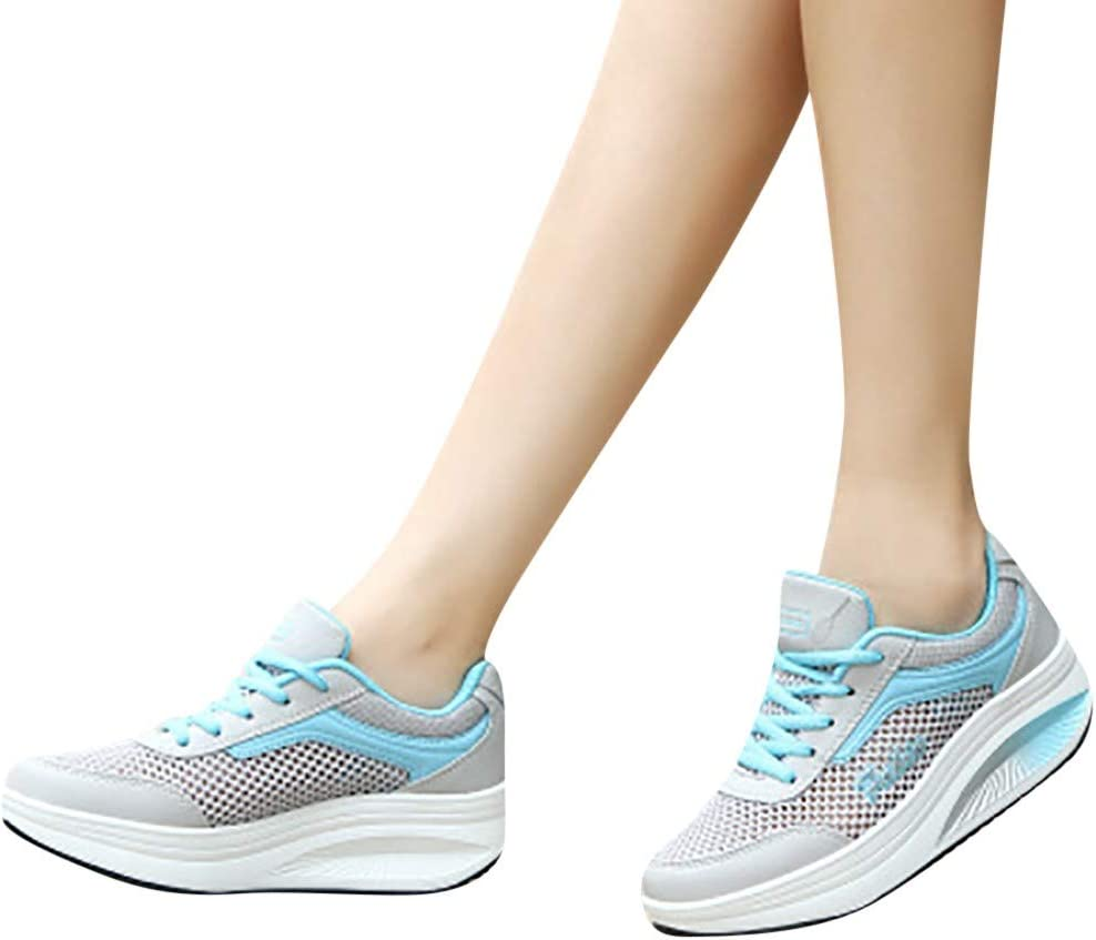 Platform Sneakers for Women Lace-up Lightweight Casual Fashion Gym Jopping Traveling Breathable Mesh Lady Sports Shoes