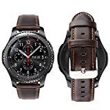 iBazal Gear S3 Watch Band 46mm,Gear S3 Frontier/Classic Genuine Leather Bands Replacement Strap 22mm for Samsung Gear S3 Frontier/Classic SM-R760/Samsung Galaxy Watch 46mm/Pebble Time- Coffee