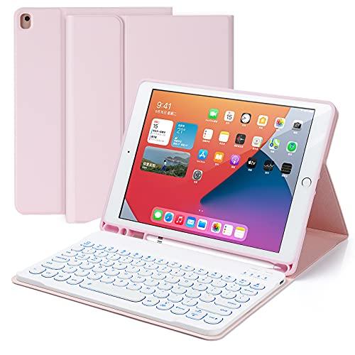 Czemo Funda Teclado para iPad 10.2 2020 8 Generacion/ 2019 7 Generación/ iPad Air 3/ iPad Pro 10.5, Desmontable Inalámbrico Bluetooth Teclado 7 Colores Retroiluminado con Soporte para Lápiz (Rosa)