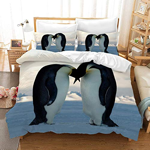 Duvet Cover Sets 3D Baby Penguin Printing Child Adult Bedding Set 100% Polyester Gift Duvet Cover 3 Pieces With 2 Pillowcases D-AU Double71'*83'(180 * 210cm)
