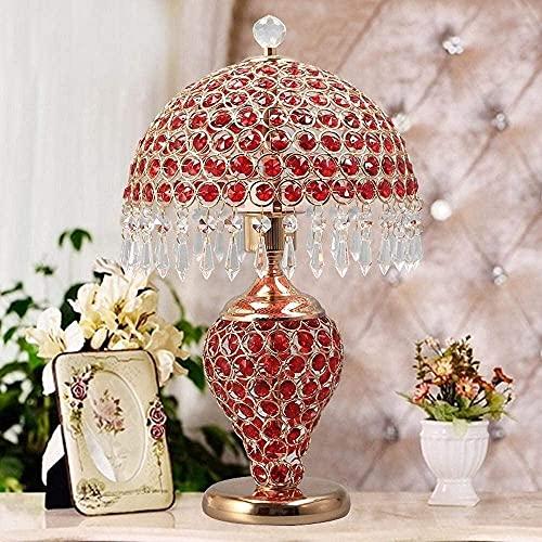 JAOSY Lámpara de Escritorio LED Europea, Lujosa y de Moda, con Cuerpo de diseño de Cristal K9 e Interruptor de botón para el Dormitorio, la Sala de Estar y la decoración, Rojo