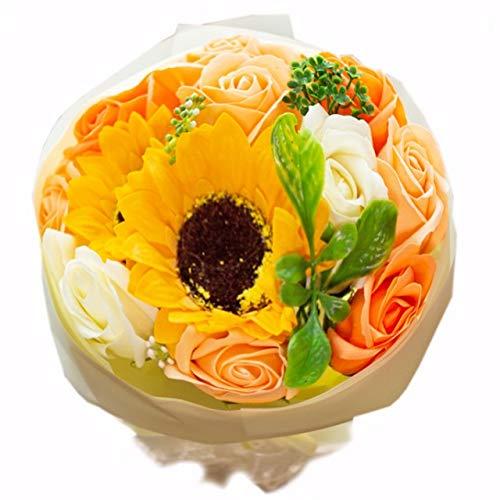 フレグランス ソープフラワー シャボンフラワー 夏にぴったり ひまわり&ローズ 花束 ブーケ FPP-808 (オレンジ)
