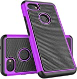 Zectoo Google Pixel 3a Case with 2X Screen Protector, Full-Body Hybrid Shock Absorbing Dual Layer Armor Defender Scratch Bumper Cover, Case for Google Pixel 3a (2019 Release), Purple