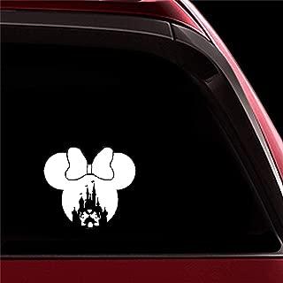 ytedad Car Sticker Car Decal 17X15Cm Minnies Head Castle Car Decals Lovely Mickey Stickers Laptop Car Body Window Door Rear Windshield