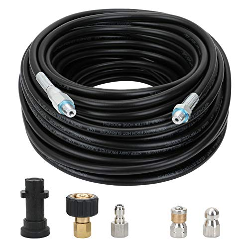 STYDDI Sewer Jetter Kit for Pressure Washer, 100 Ft Pressure Washer Drain Cleaner Hose with Button Nose and Rotating Sewer Jetting Nozzle for Drainage pipes, Downspouts, Indoor Lateral Lines, 4000 PSI