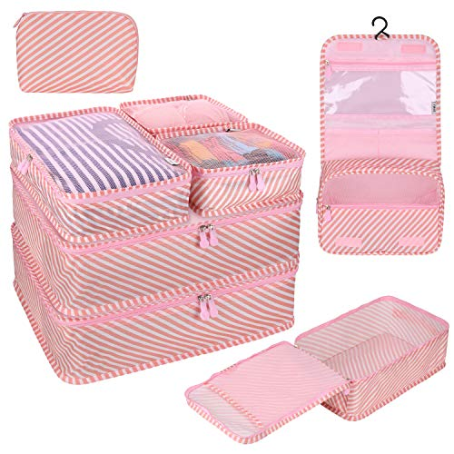 8 PC Packing Cube Travel Luggage Organiser Bag for Suitcase Lightweight Travel Essential Bag with Large Toiletries Bag for Clothes Shoes Cosmetics Toiletries Electronics Accessories (Pink Stripe)