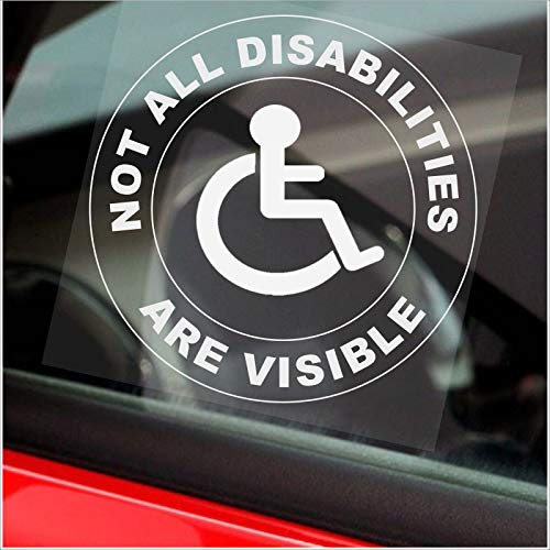 Platinum Place 1 x Not All Disabilities Are VISIBLE Car ROUND Sticker Disabled Window Sign Badge...